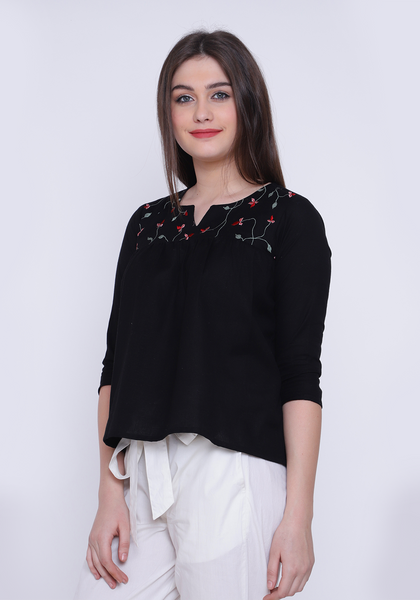 Gathered Embroidered Black Top