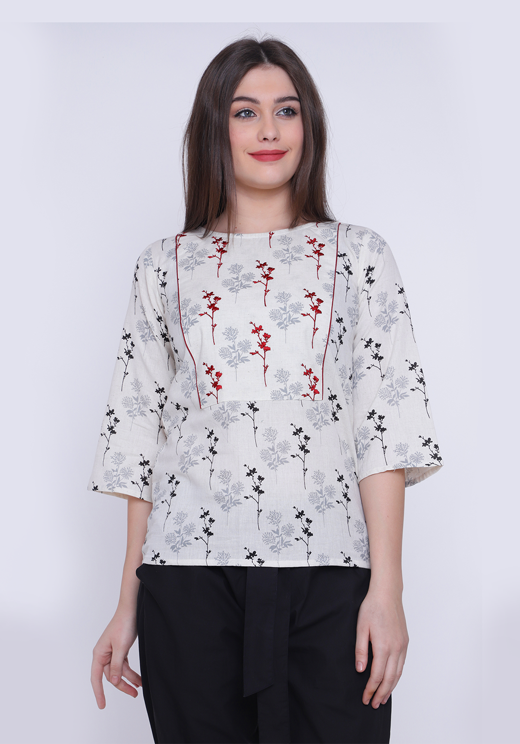 Floral Printed Embroidered After Glow Top