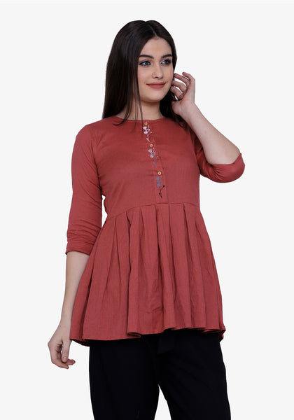 Button Down Embroidered Dusty Cedar Tunic