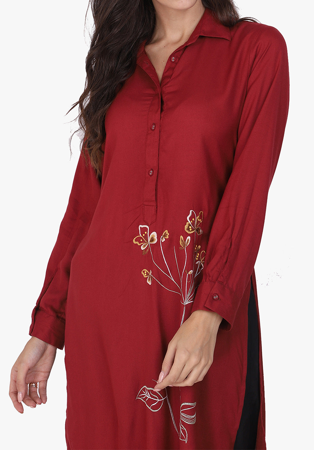 Statement Embroidered Maroon Floral Tunic