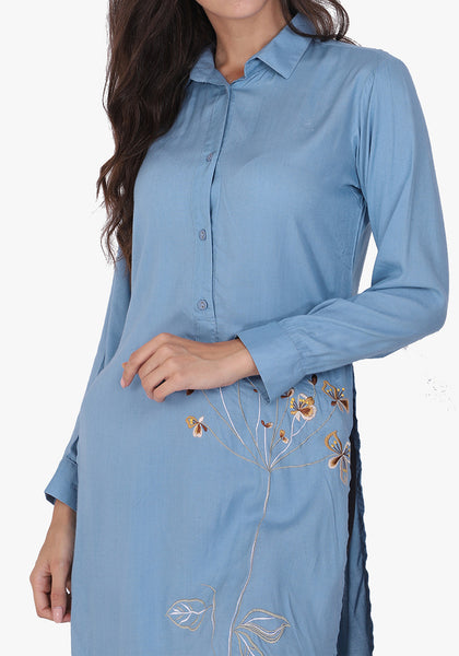 Statement Embroidered Faded Denim Floral Tunic