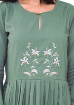 Load image into Gallery viewer, Embroidered Pleated Dress - Comfrey Dress VRITTA