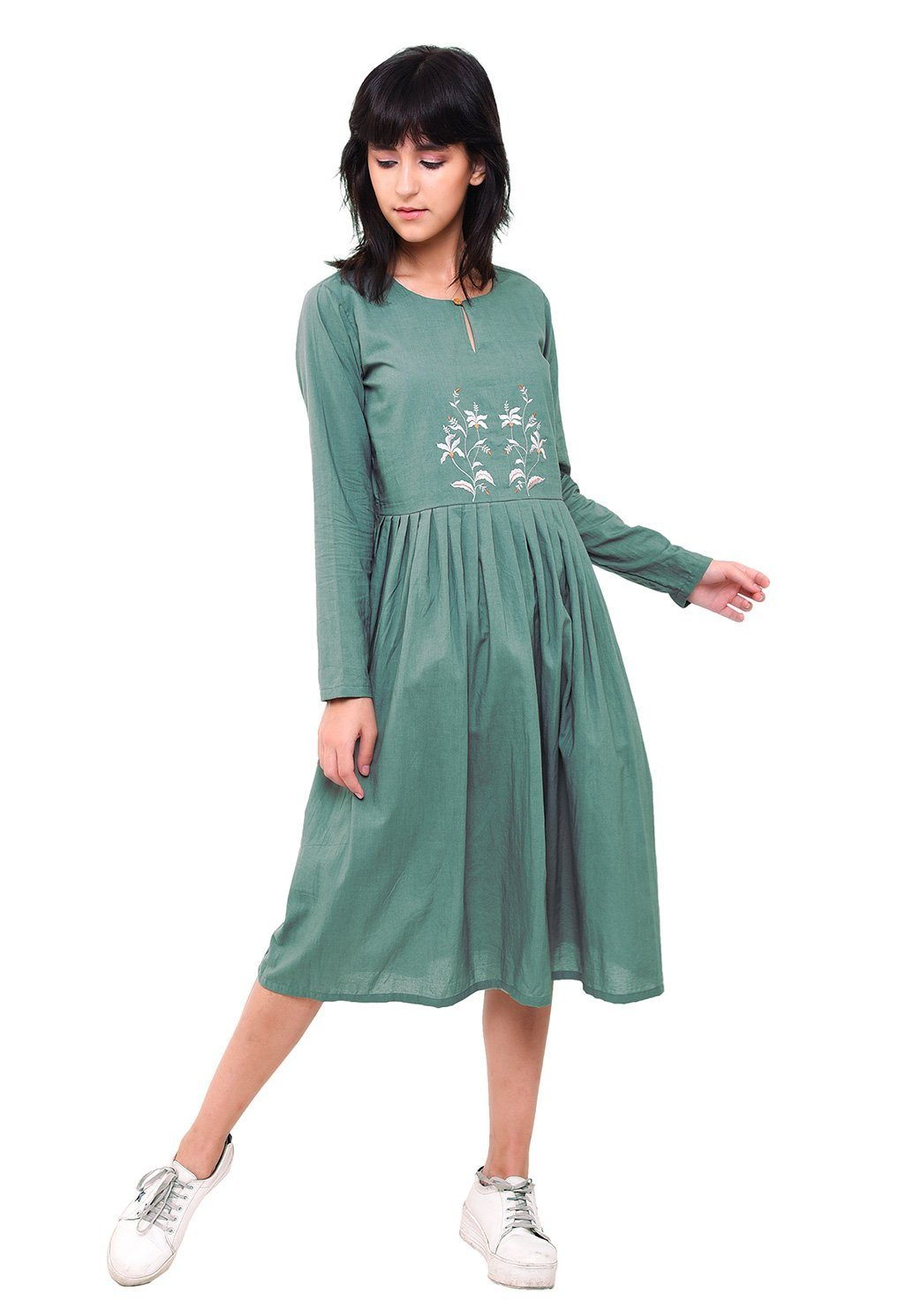 Embroidered Pleated Dress - Comfrey Dress VRITTA