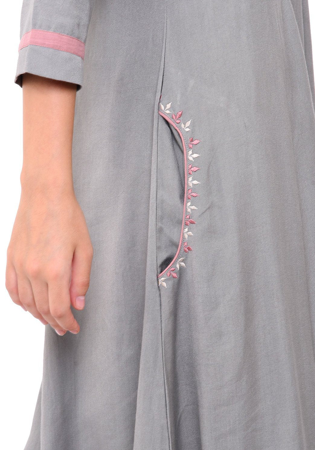 Pocket Embroidered Shift Dress - Grey Dress VRITTA