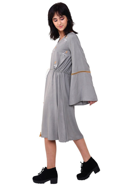 Tie-up Bohemian Dress - Grey Dress VRITTA