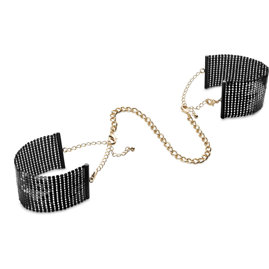 DÉSIR MÉTALLIQUE · BLACK METALLIC MESH HANDCUFFS