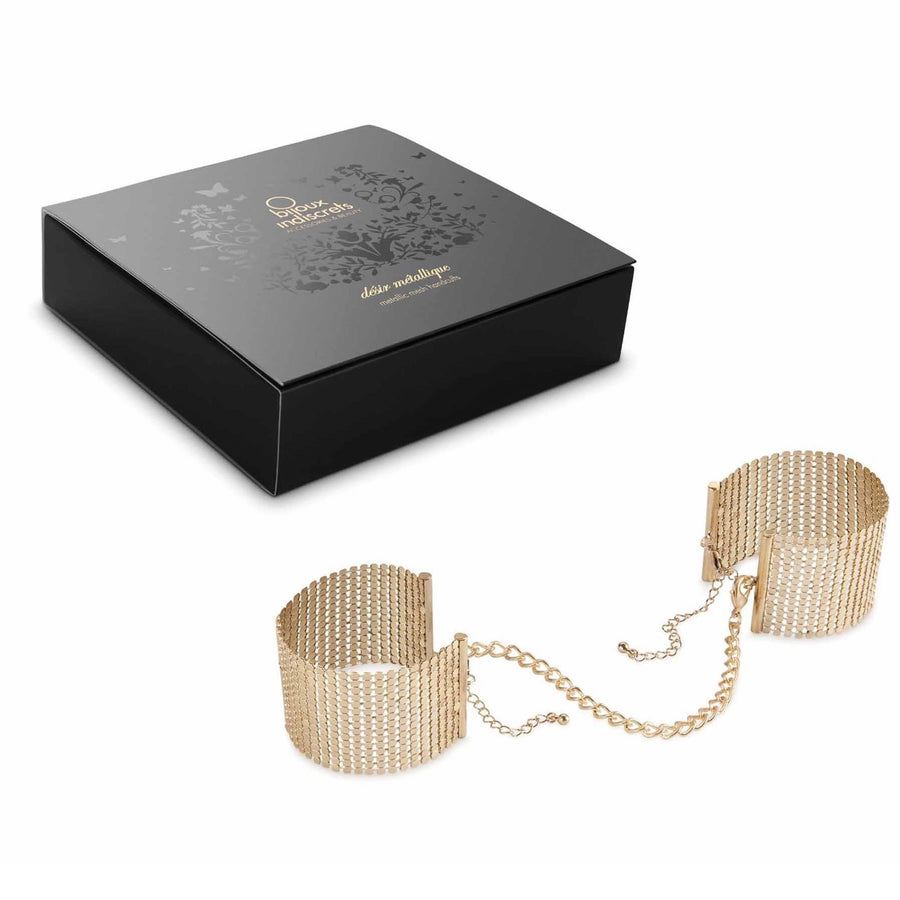 DÉSIR MÉTALLIQUE · GOLD METALLIC MESH HANDCUFFS