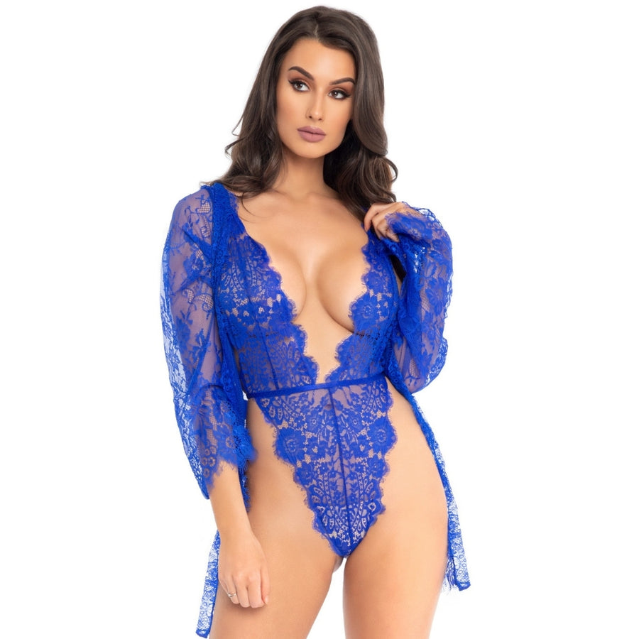 FLORA ROYAL BLUE  LACE TEDDY