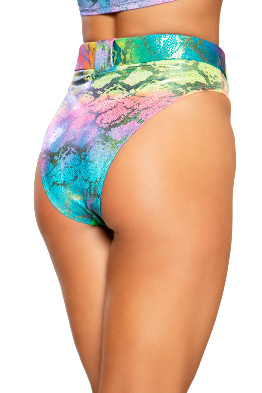 3747 - Multi Colored Snake Skin High Rise High-Waisted Shorts with Belt Detail