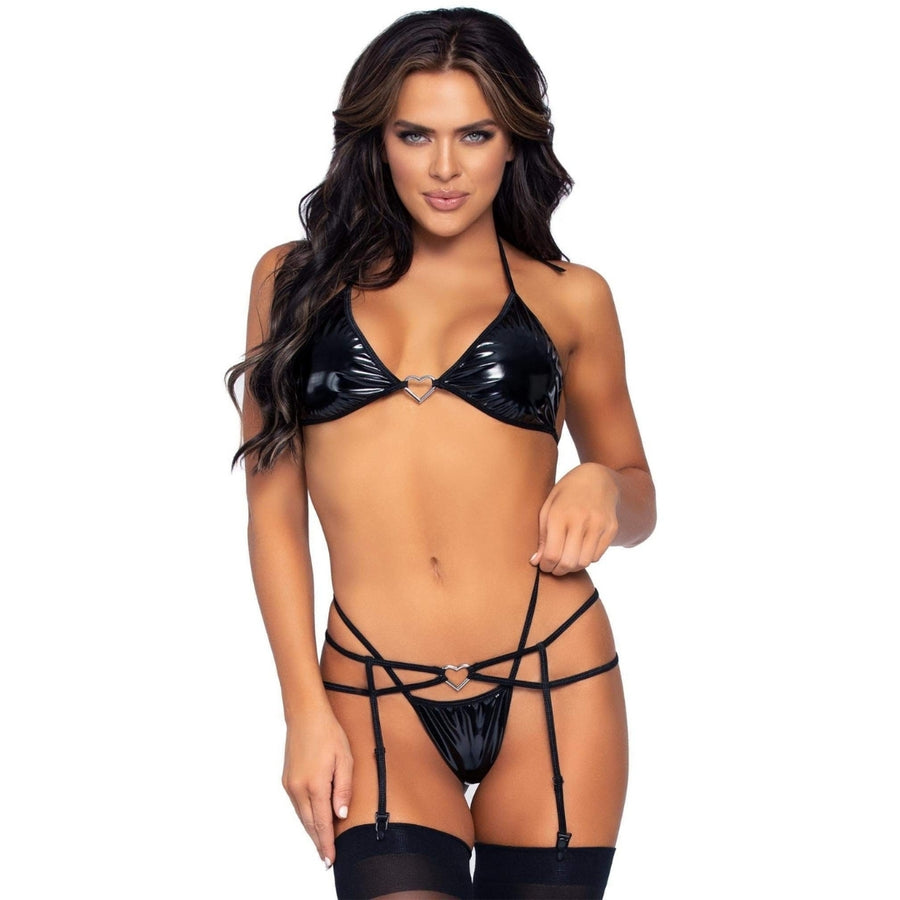 DAVINA BLACK GARTER SET 3PC