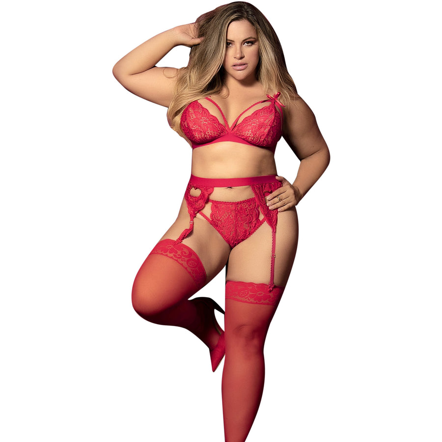 AMY CURVY RED LINGERIE SET