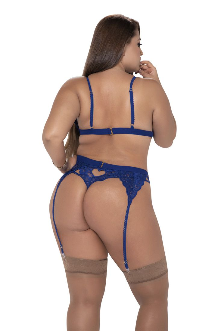 AMY CURVY BLUE LINGERIE SET