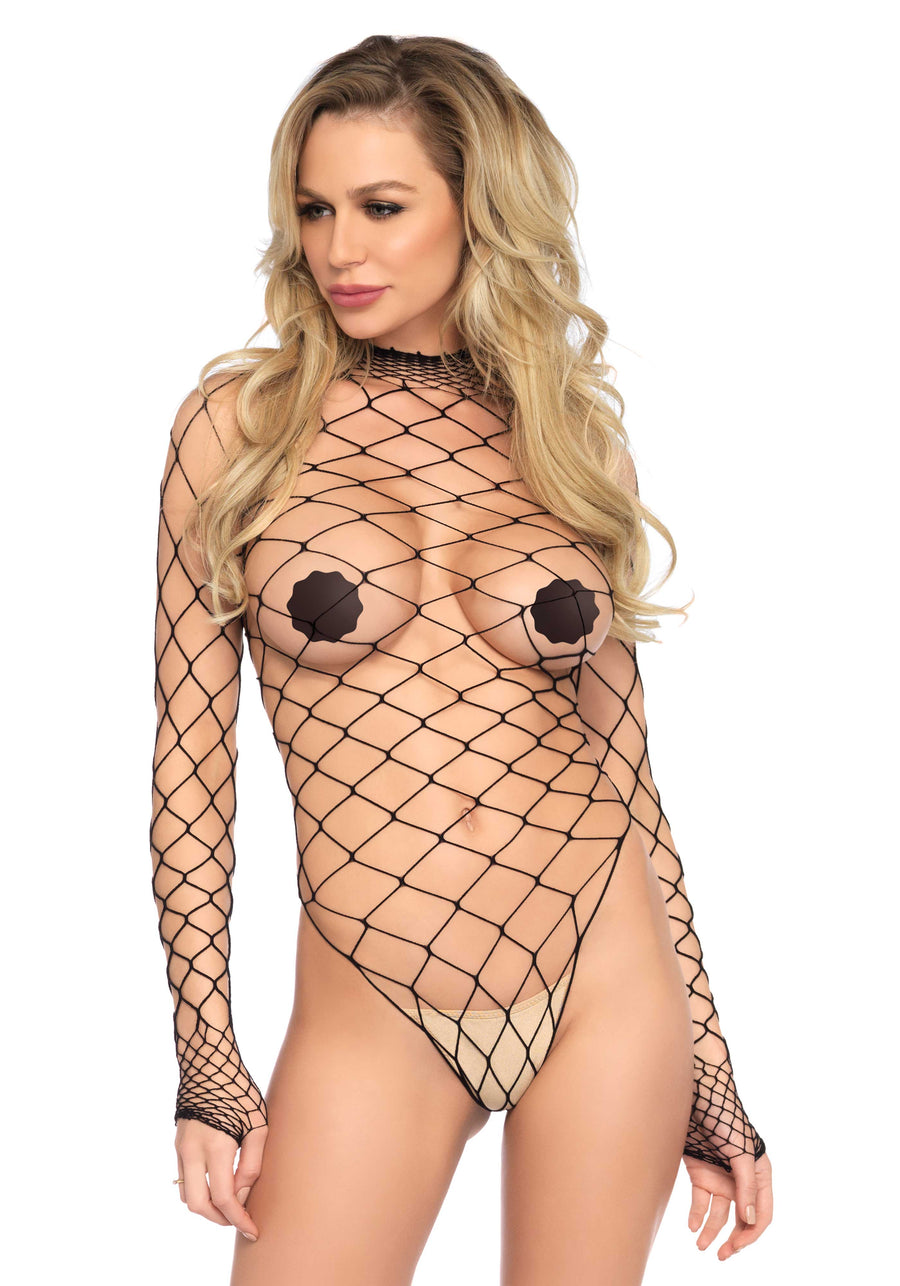 AQUA BLACK NET TEDDY