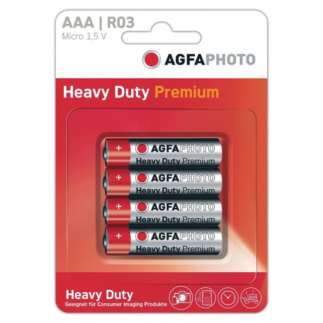 Agfa - 4 Alkaline AAA Batteries Red/White