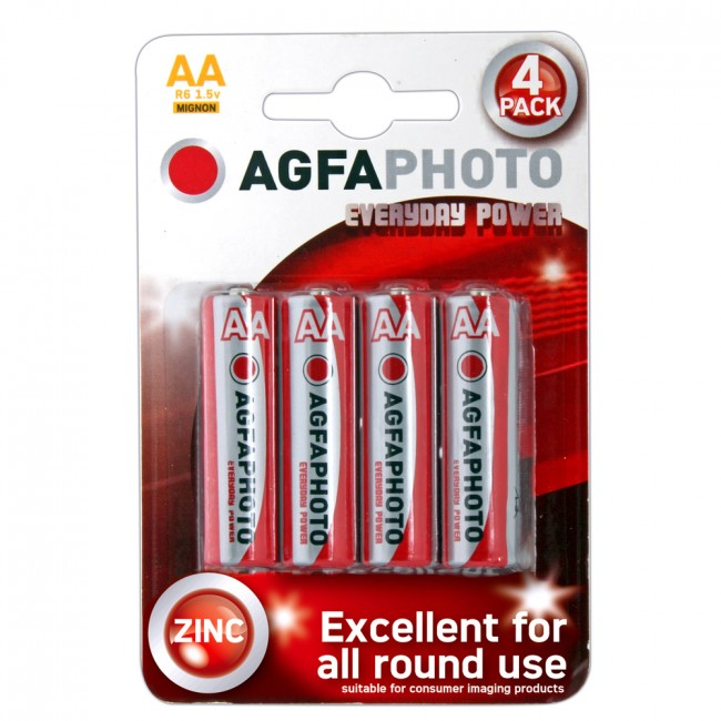 Agfa - 4 Alkaline Aa Batteries Red/White