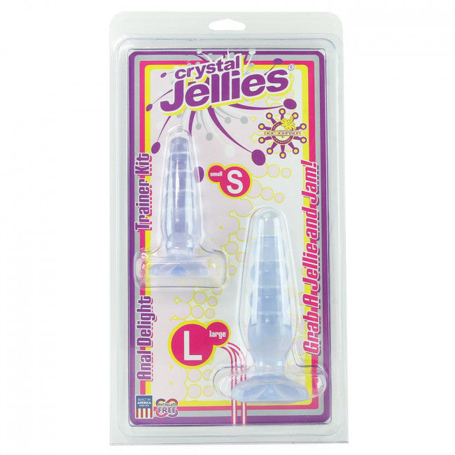 Crystal Jellies Anal Delight Trainer Kit Clear 5in