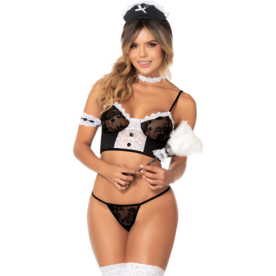 FRENCH MAID 4 PIECE TEDDY COSTUME (SPECIAL ORDER)