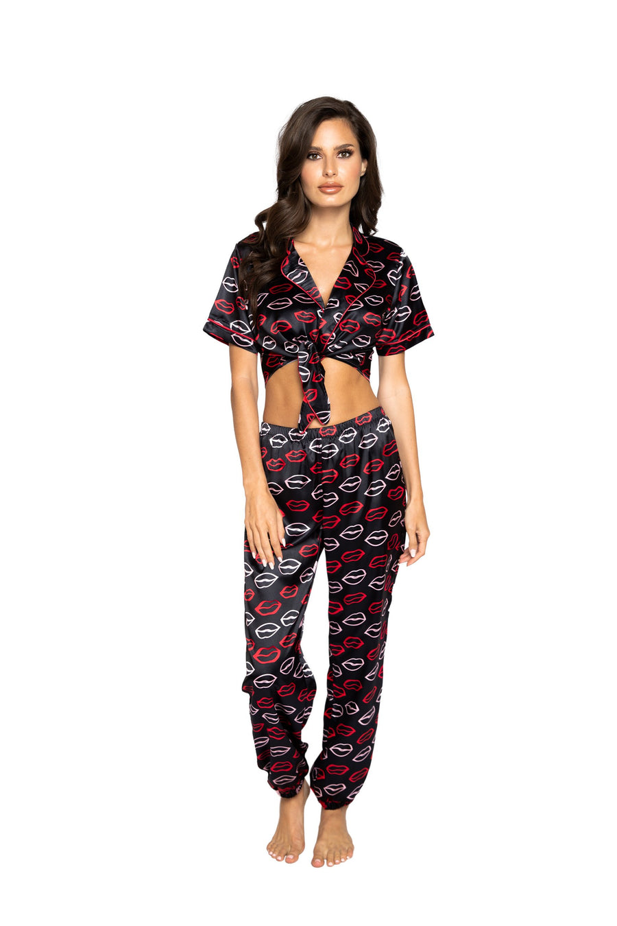 Roma Confidential LI351 Lips Satin Pajama Set Chic 2 Piece Satin Pajama Set with Collared Tie Top and Full Pant Bottoms Adorned with a Lip Print