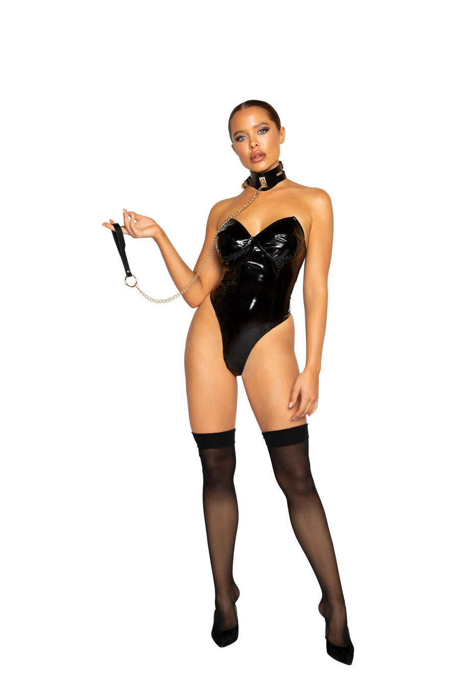 Roma Confidential LI363 High Cut Vinyl Bodysuit Fetish Style High Cut Strapless Vinyl Bodysuit with Thong Style Back and Zipper Closure