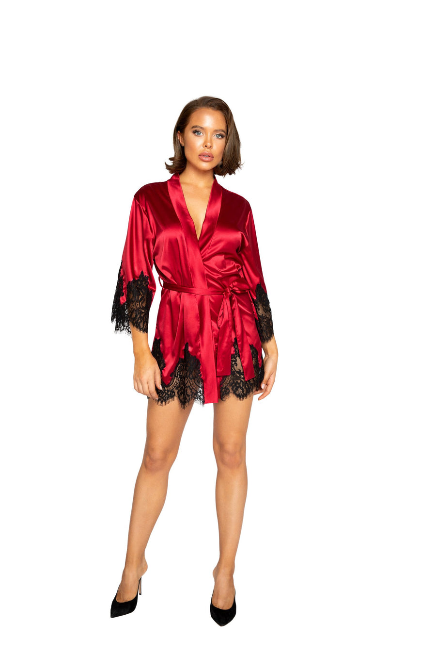 Roma Confidential LI368 Elegant Cutout Eyelash Lace Robe Elegant Red Satin Short Robe with Black Eyelash Lace Trim Cutouts on Armas and Along Bottom