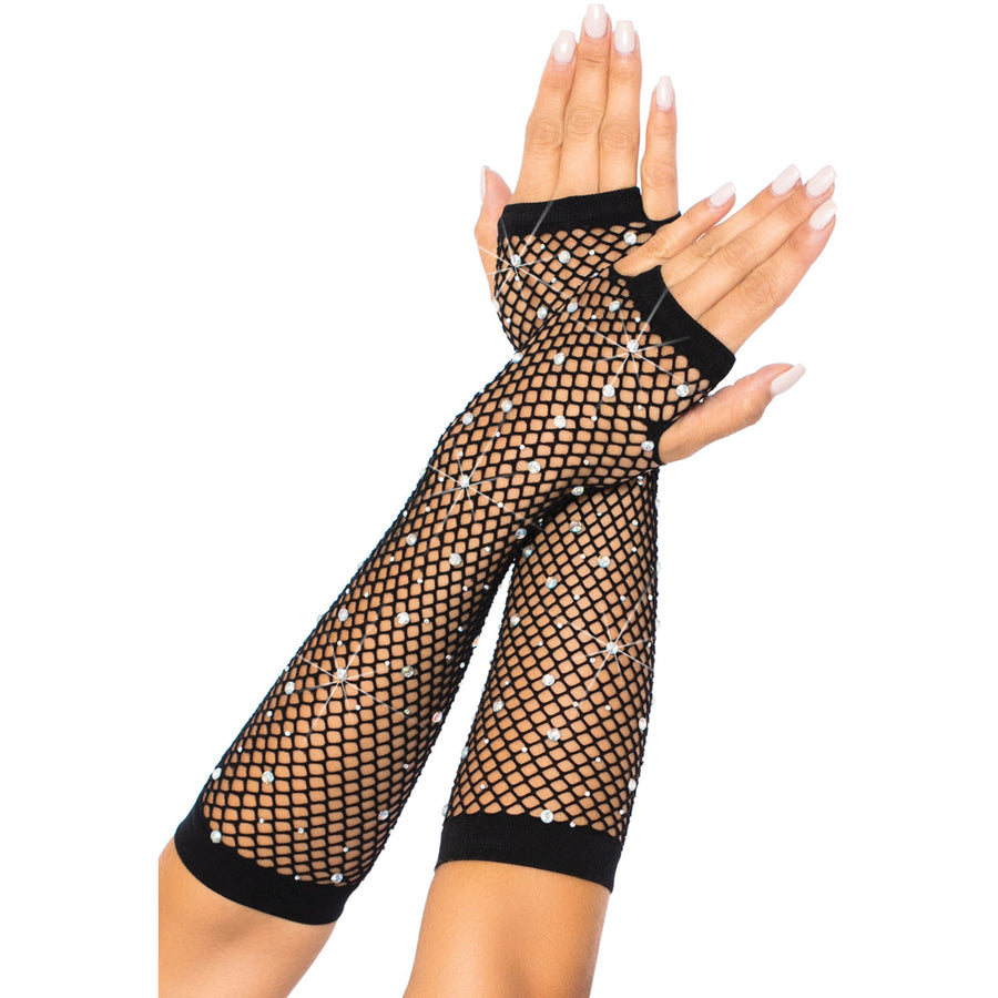 Rhinestone net arm warmers
