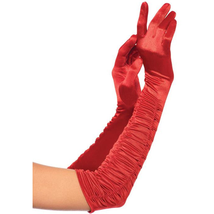 Ruched Satin Gloves
