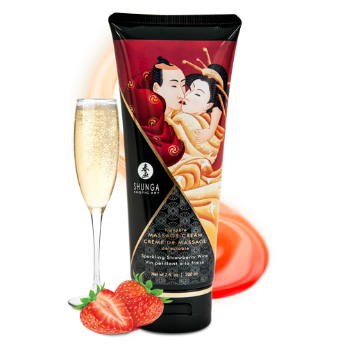 SHUNGA KISSABLE MASSAGE CREAM - SPARKLING STRAWBERRY WINE 200ml