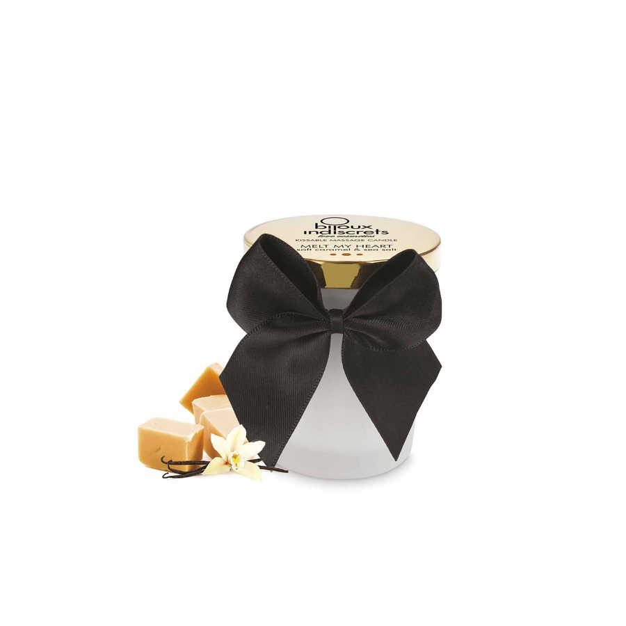 KISSABLE MASSAGE CANDLE · SOFT CARAMEL AND SEA SALT