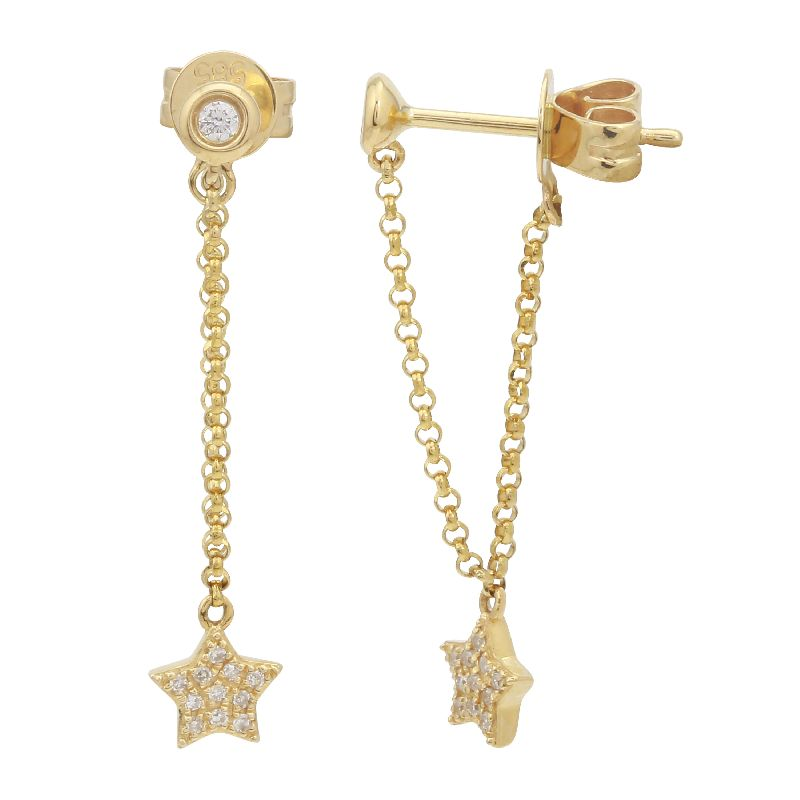 STAR CHAIN DROP STUD EARRINGS