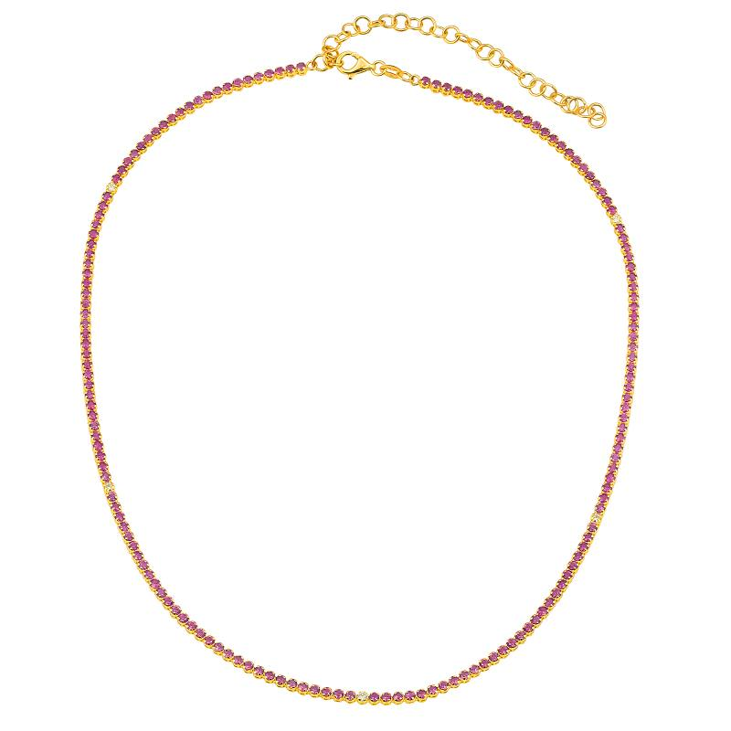 RUBY WITH DIAMOND TENNIS NECKLACE