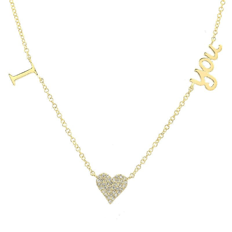 14K YELLOW GOLD I HEART YOU DIAMOND NECKLACE