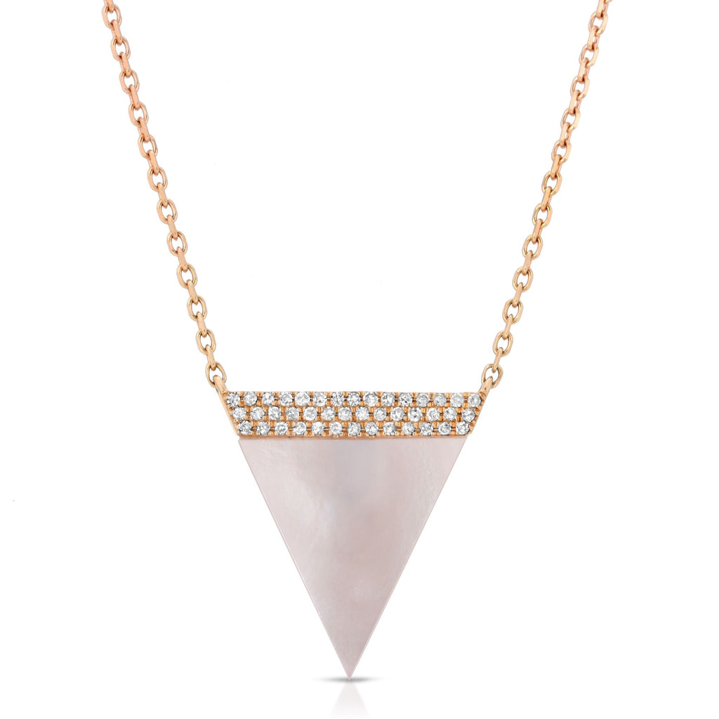 14K ROSE GOLD NECKLACE WITH  DIAMONDS AND MOTHER OF PEARL