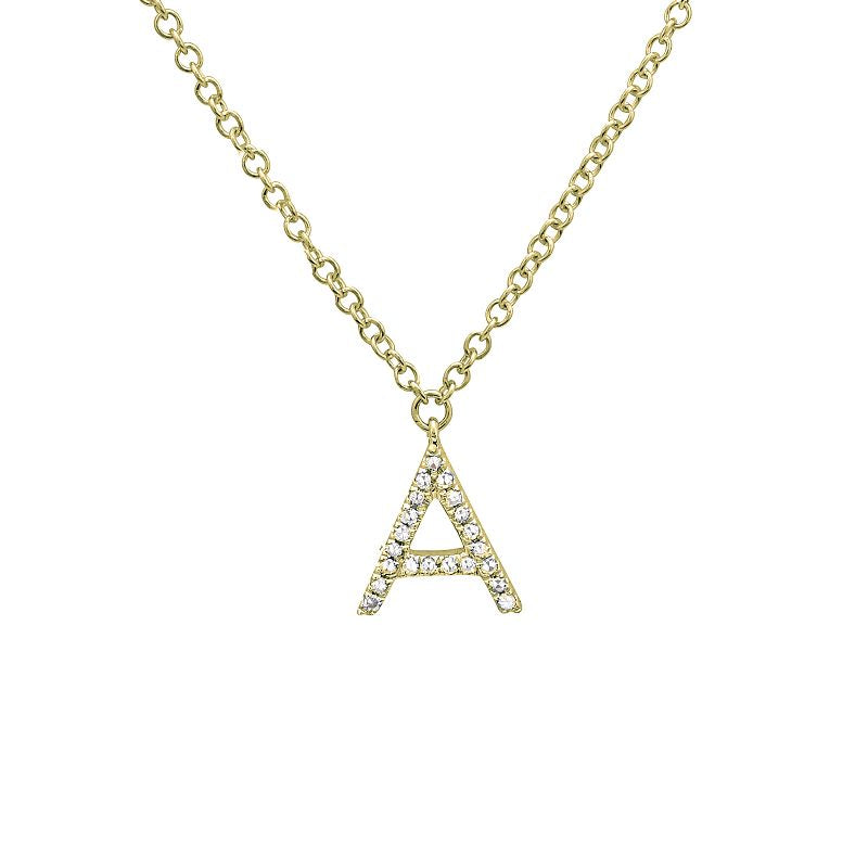 14K YELLOW GOLD DIAMOND NECKLACE WITH INITIAL