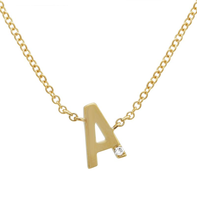 14K YELLOW GOLD DIAMOND NECKLACE WITH INITIAL.