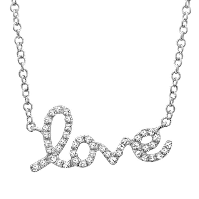 14K WHITE GOLD LOVE DIAMOND NECKLACE