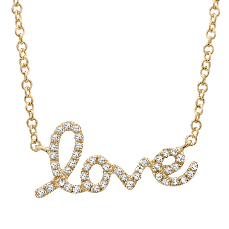 14K YELLOW GOLD LOVE DIAMOND NECKLACE