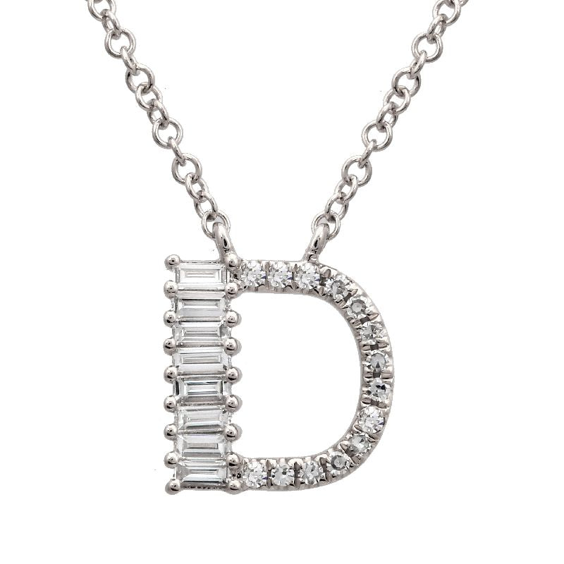 14K YELLOW GOLD INITIAL DIAMOND NECKLACE