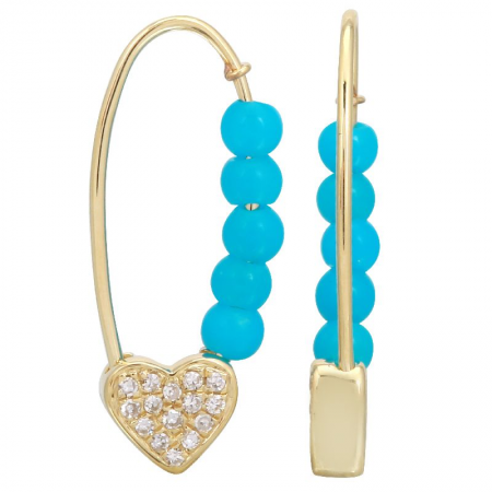 SAFETY PIN TURQUOISE EARRINGS
