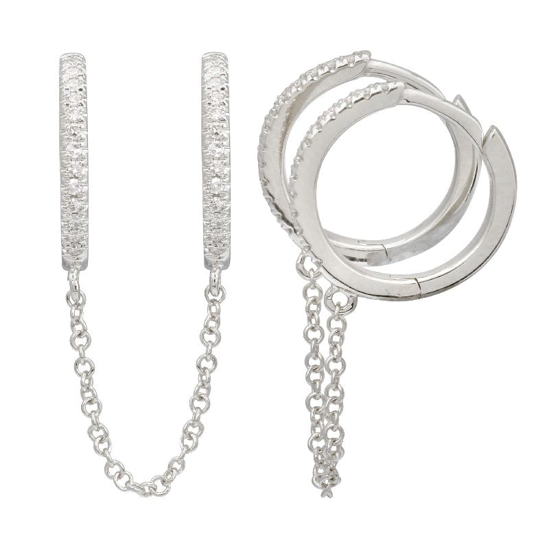 WHITE GOLD DOUBLE HUGGIE CHAIN EARRINGS (SOLD AS A SINGLE)