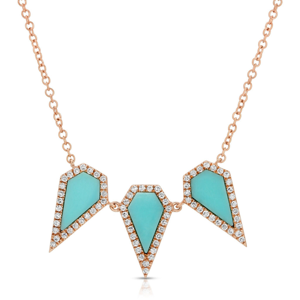 14K ROSE GOLD ADINA NECKLACE WITH DIAMONDS AND TURQUOISE