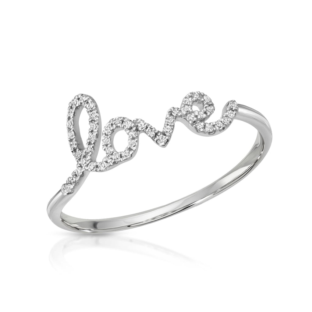 14K WHITE GOLD LOVE DIAMOND RING