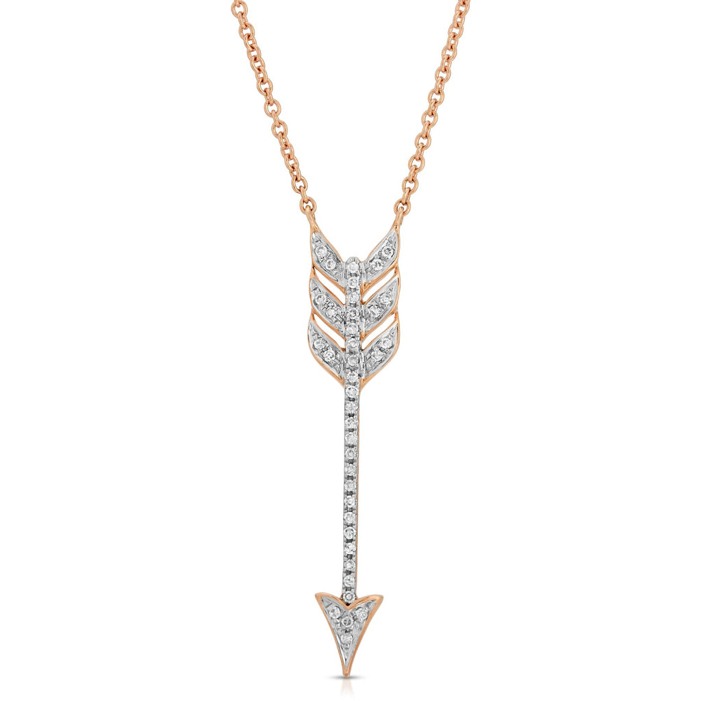 14K ROSE GOLD ARROW NECKLACE WITH DIAMONDS