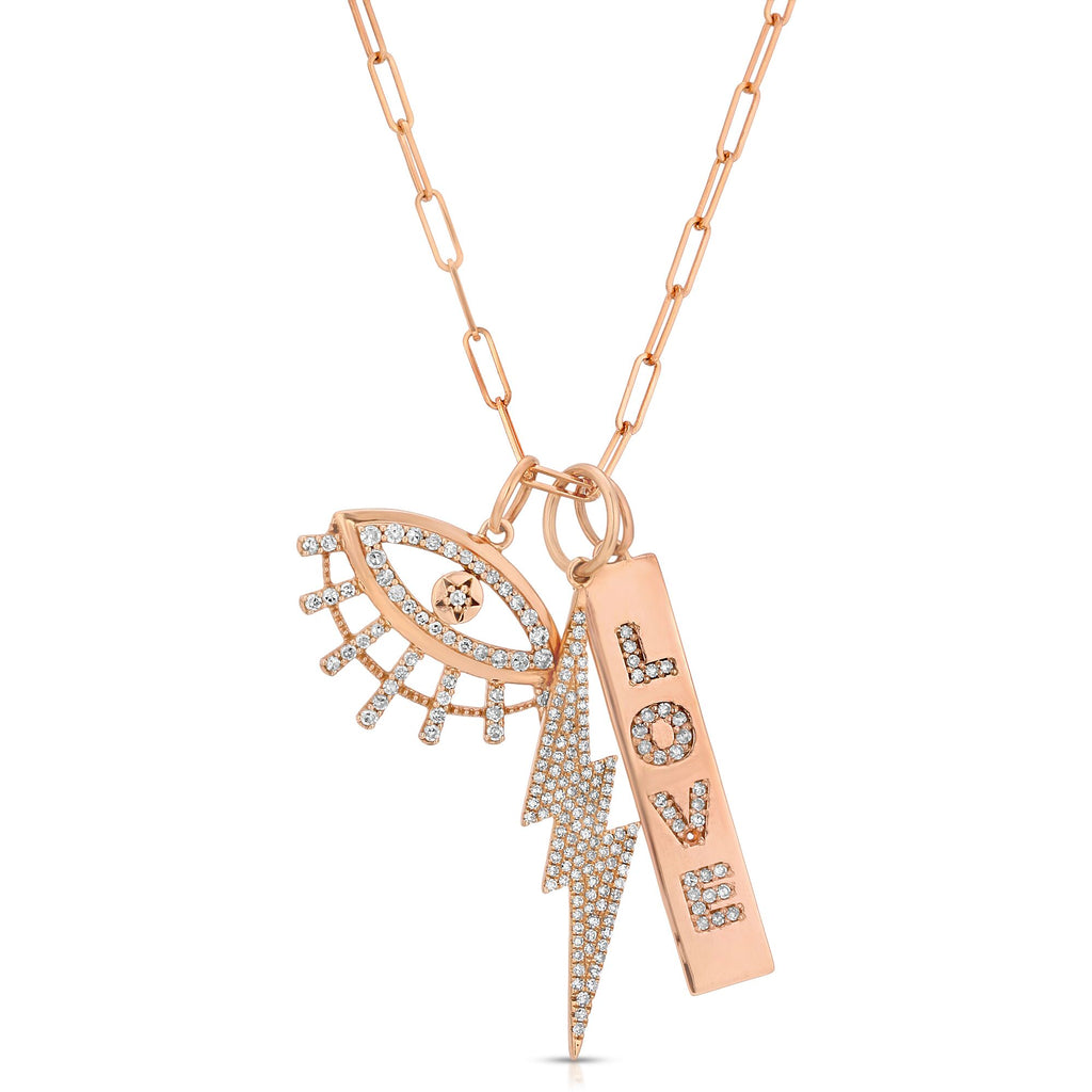 14K ROSE GOLD LOVE CHARM WITH DIAMONDS.