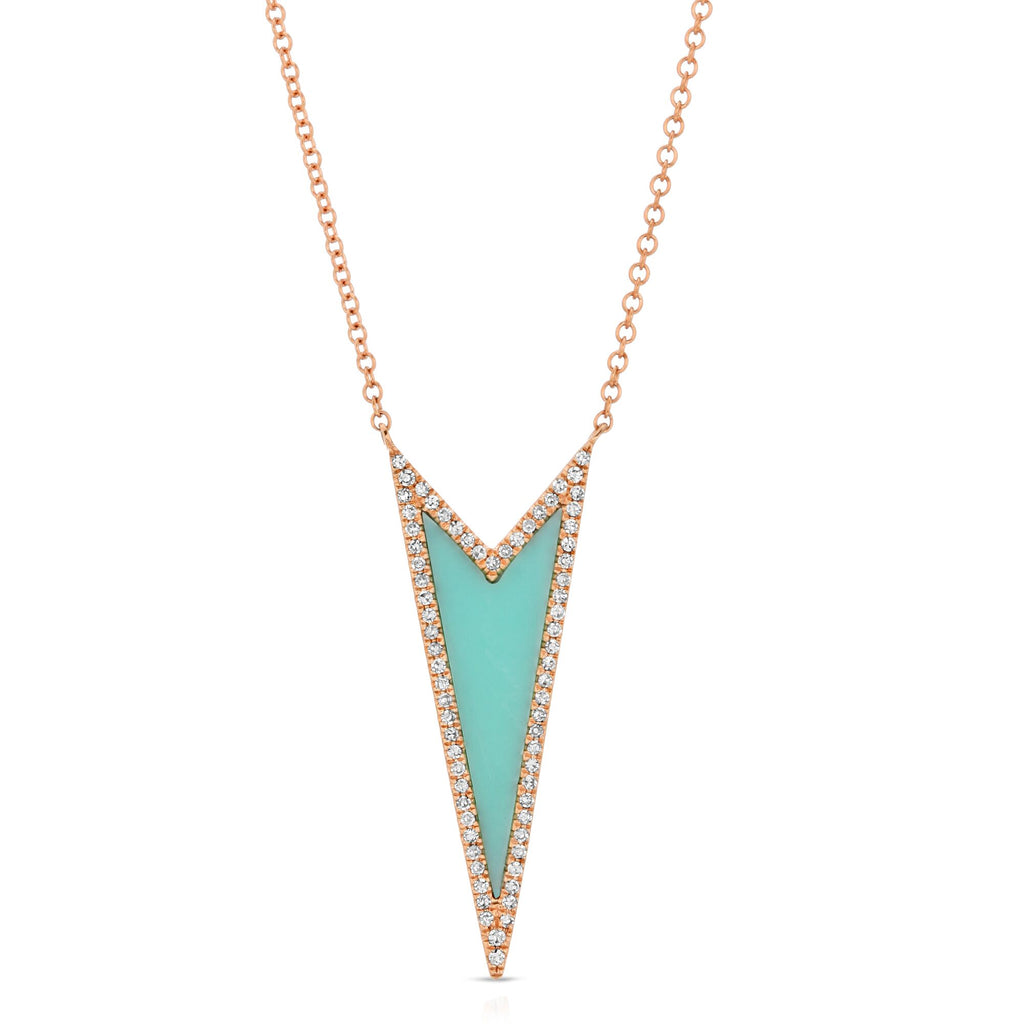 14K ROSE GOLD ELENA NECKLACE WITH TURQUOISE AND DIAMONDS.