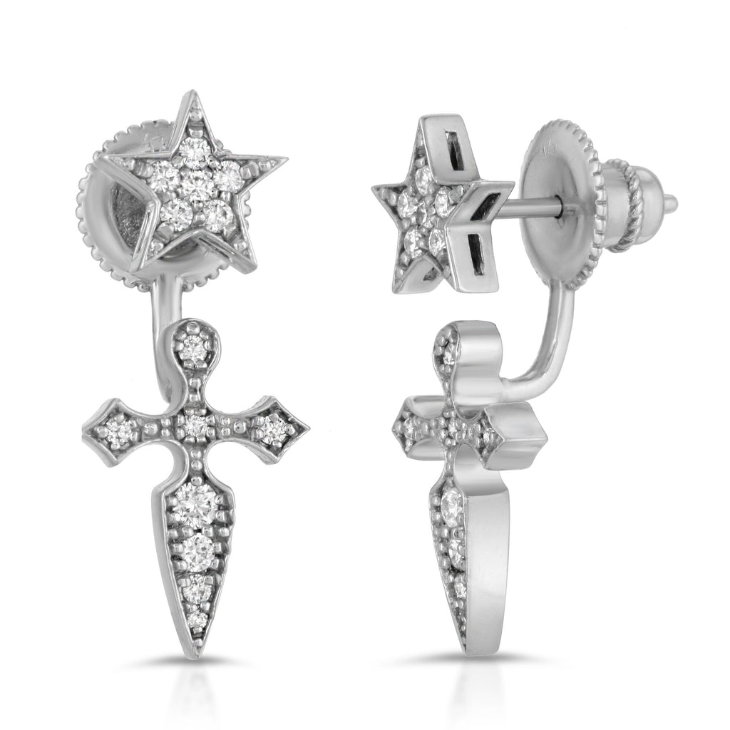 WHITE GOLD FAITH EARRINGS