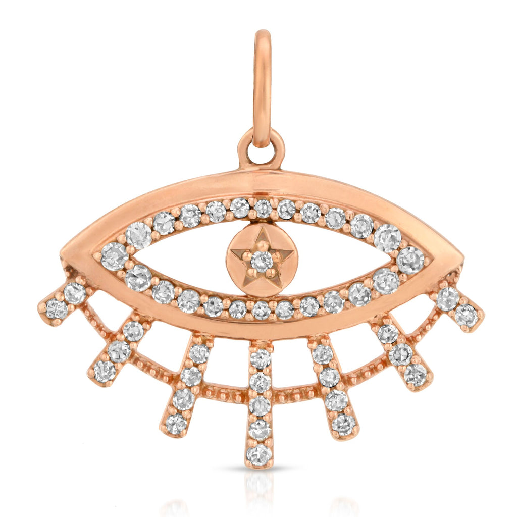 14K ROSE GOLD EVIL EYE CHARM WITH DIAMONDS