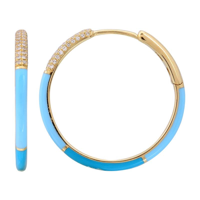 COLOR BLOCK ENAMEL HOOP EARRINGS