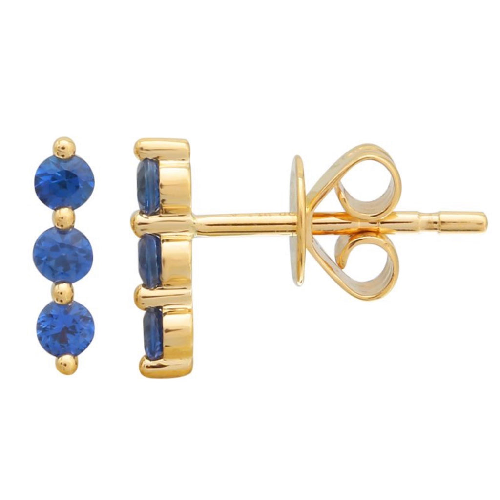 SAPPHIRE BAR STUD EARRINGS