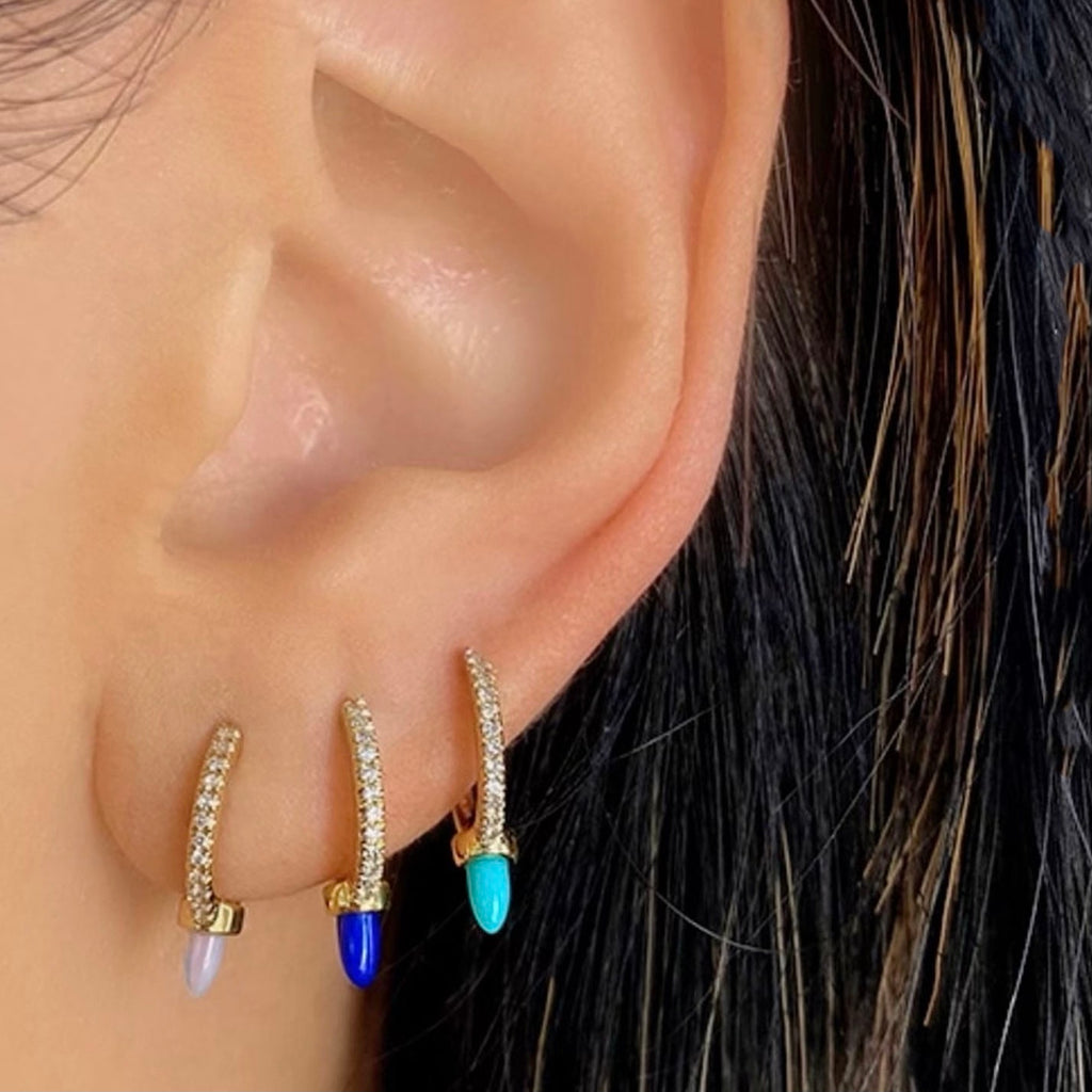 LAPIS LAZULI SPIKE HUGGIE EARRINGS