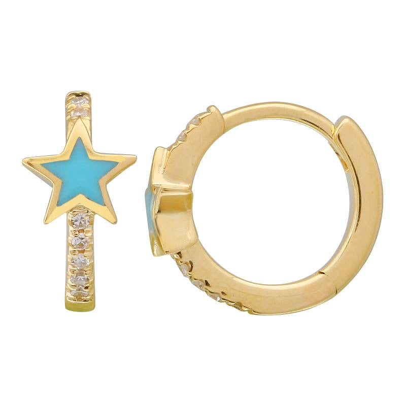 STAR ENAMEL DIAMOND HUGGIE EARRINGS